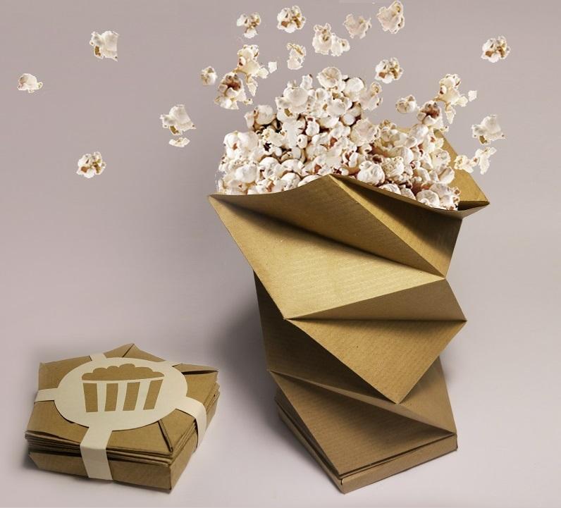 kreatywne opakownie na popcorn z mikrofalówki