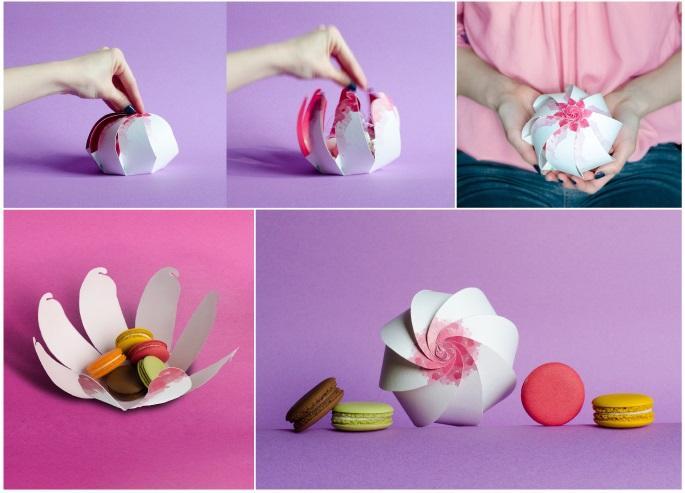 Opakowanie przypominające kwiat z papieru na prezenty ślubne