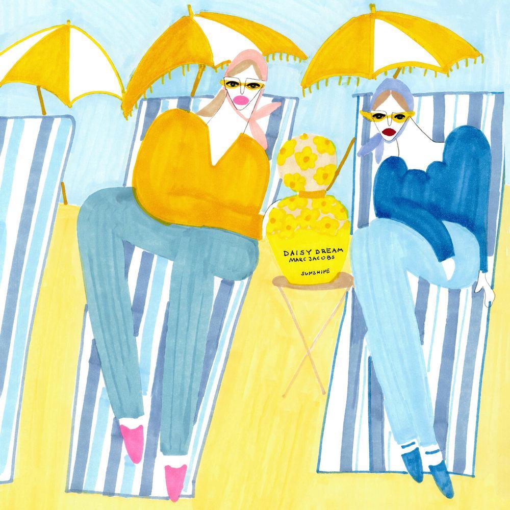 Ilustracja Karoliny Pawelczyk promująca zapach Daisy Dream Sunshine